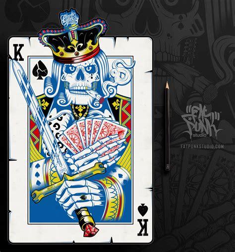 king  spades playing card art  black tread play