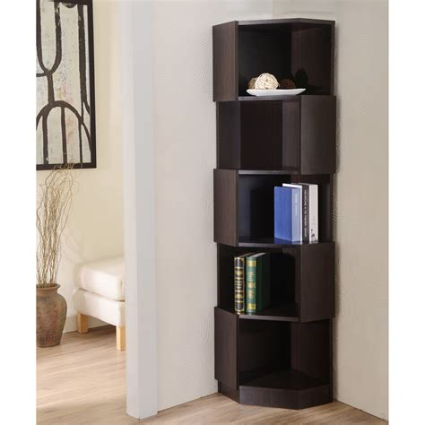 Corner Cabinet Bookcase by Furniture Of America Laina Geometric Espresso 5 Shelf