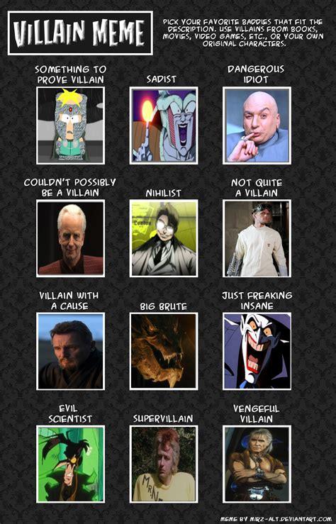 Villain Meme - 12 villains meme by komodo lancer on deviantart