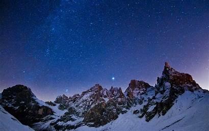 Sky Night Mountains Winter Stars Wallpapers Wallhere