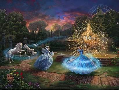 Kinkade Thomas Disney Cinderella Action Paintings