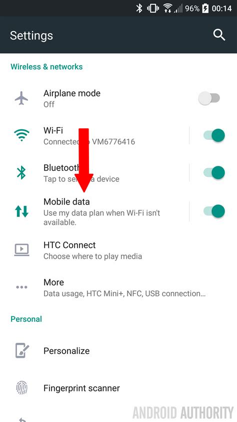 how to turn mobile data and roaming on the htc 10 android authority