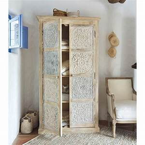 Maison Du Monde Armoire : armoire en manguier massif blanche et argent e l 100 cm ~ Melissatoandfro.com Idées de Décoration