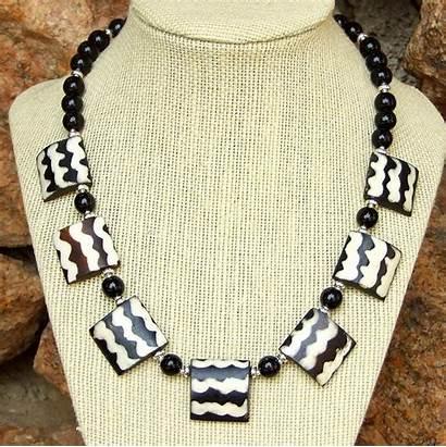 African Jewelry Tribal Handmade Boho Necklace Batik