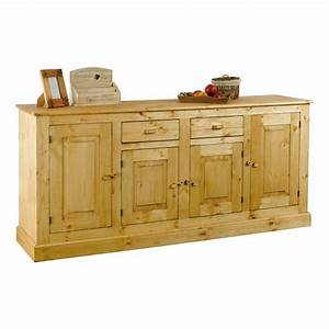 Meuble Bas 2 Portes : meuble bas rustique en pin 4 portes 2 tiroirs achat ~ Dallasstarsshop.com Idées de Décoration