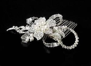 Silver Diamond White Pearl Bridal Comb Elegant Bridal