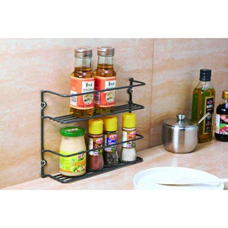 Two Tier Spice Rack by Vinyl Coated Metal Wire 2 Tier Vertical Spice Rack