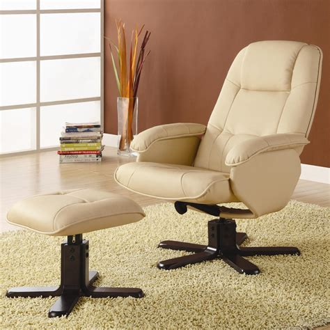 ivory leather chair with matching ottoman by coaster 600141