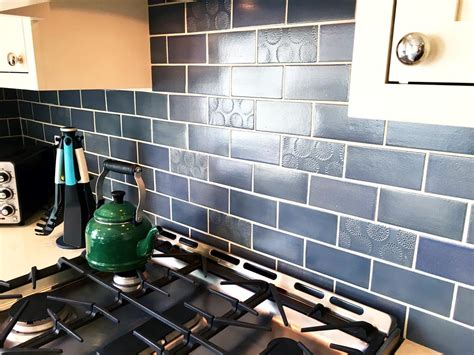 tiles navy blue subway tile and the hydrorail shower blue and copper subway tile kitchen