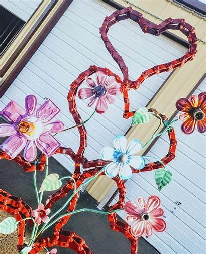 Metal Recycled Flower Scrap Sculpture Junk Heart