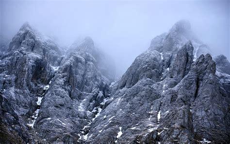 nature landscape mountains rocks winter snow clouds