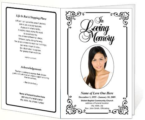 Free Printable Funeral Program Template Memorial Funeral Bulletins Simple