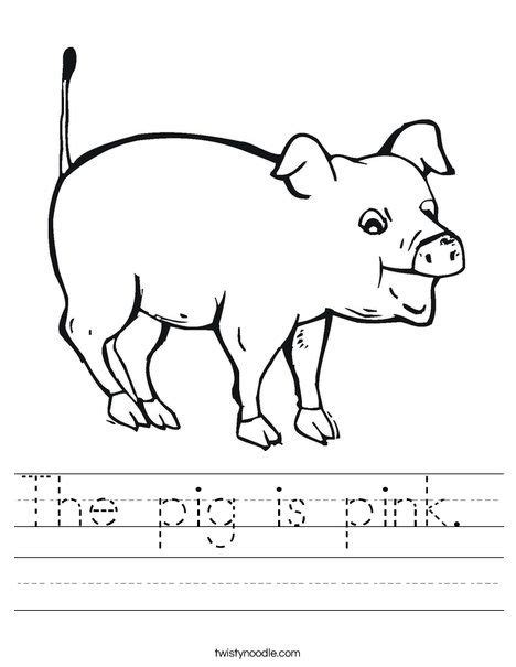 pig  pink worksheet twisty noodle  images