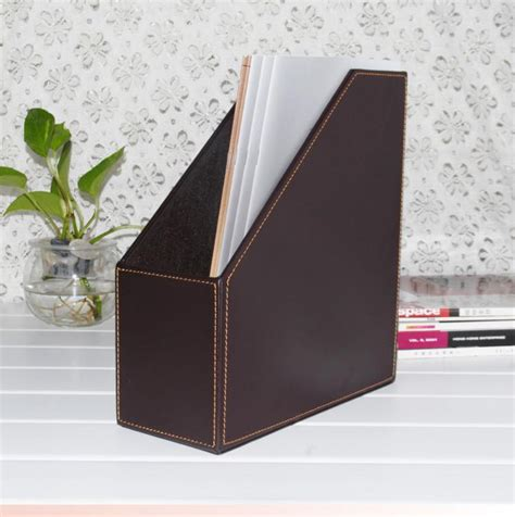slot wood leather desk file book box magazine