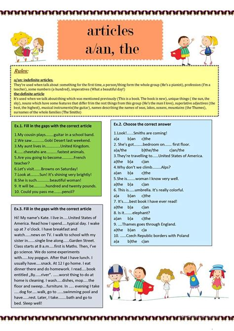 Article Aan The Worksheet  Free Esl Printable Worksheets Made By Teachers