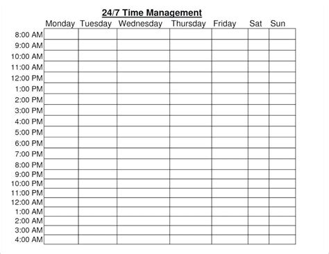 weekly hourly planner template excel schedule template