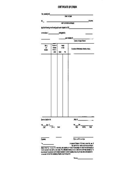 certificate  origin form fillable printable
