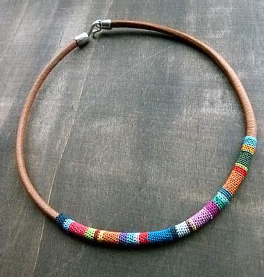 Crochet and Leather Necklace