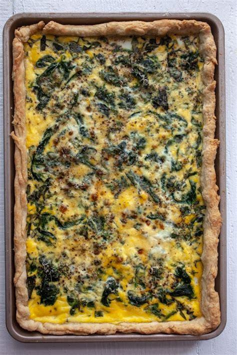 quiche pan sheet basil spinach macheesmo