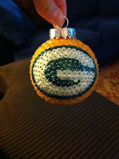 green bay packers sequin christmas ornament by autsomeideas