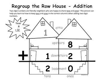 single digit vertical multiplication without regrouping regrouping 2 digit addition subtraction row house graphic