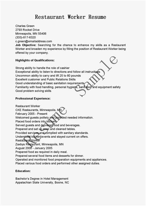 Work Experience Resume Sle Restaurant by Sle Resume For Restaurant Worker Newsletter Template