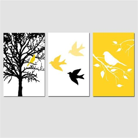modern bird tree nursery art wall decor trio set