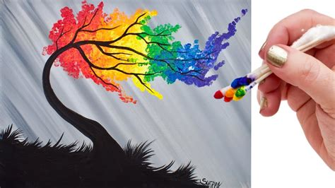 rainbow willow tree q tip acrylic painting for beginners tutorial youtube
