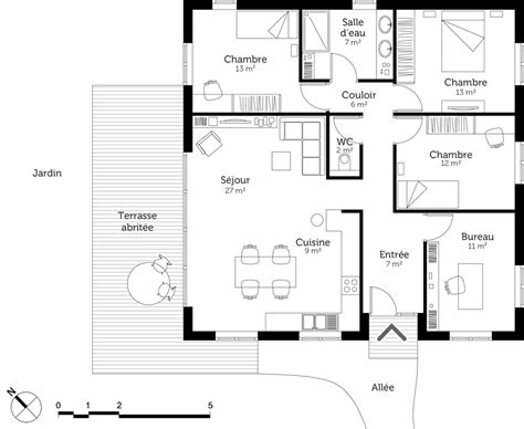 cuisine plan maison moderne avec chambres ooreka plan de maison moderne d architecte gratuit