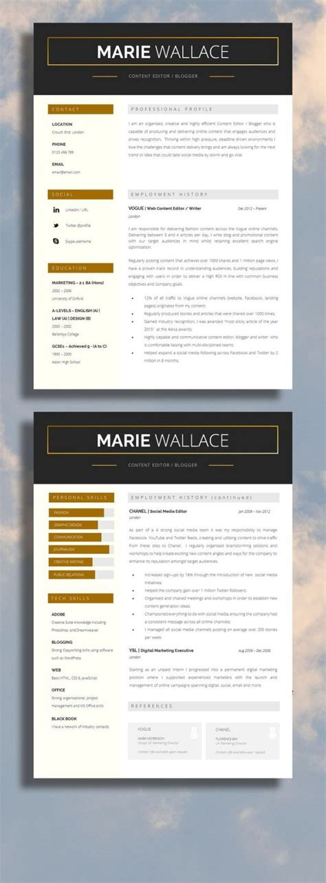 resume resume two page professional resume template