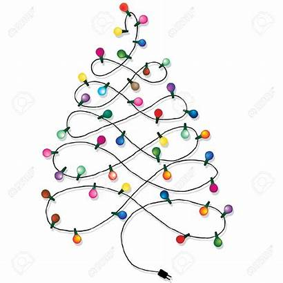 Lights Christmas String Tree Clipart Garland Background