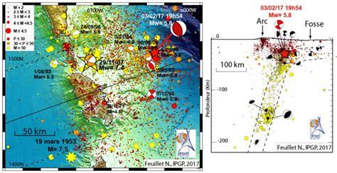 bureau center martinique localisation et magnitude des principaux séismes autour de