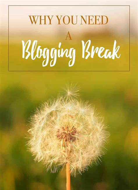 Why You Need A Blogging Break  My Food Story