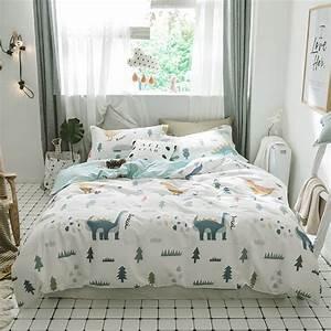 2018, Cartoon, Dinosaur, Print, Bedding, Set, Cotton, Twin, Queen