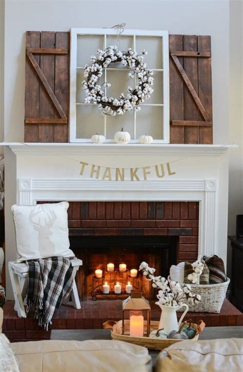 farmhouse mantel decor ideas  thanksgiving farmhouse