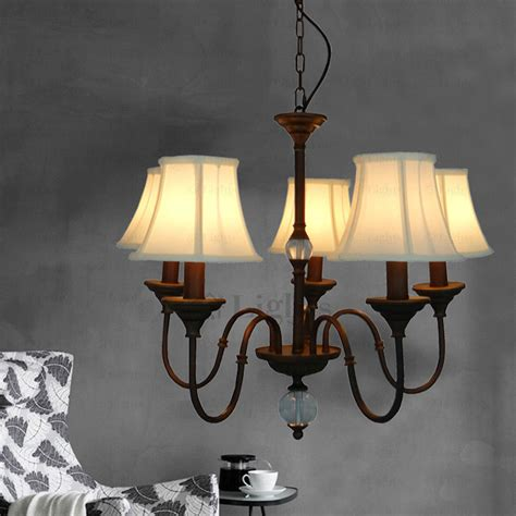 Country Style Pendant Light Fabric Shade