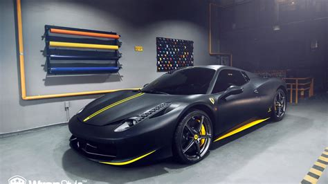 Hotwheels 1:18 elite ferrari 458 speciale matte black diecast model car bly33 ne. Ferrari 458 - Matte black   Wrapstyle