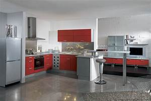 pictures of kitchens modern two tone kitchen cabinets With red and grey kitchen designs