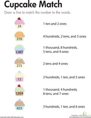 number place values cupcake match worksheet education