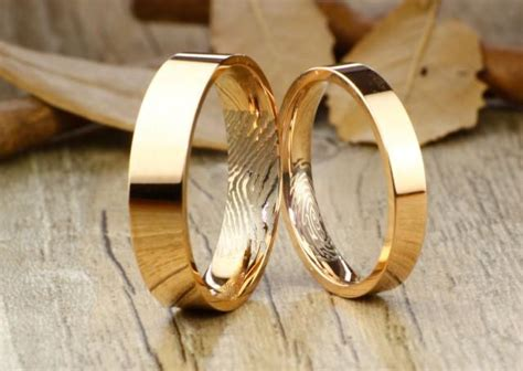 your thumb print rings personalize rose gold flat matching