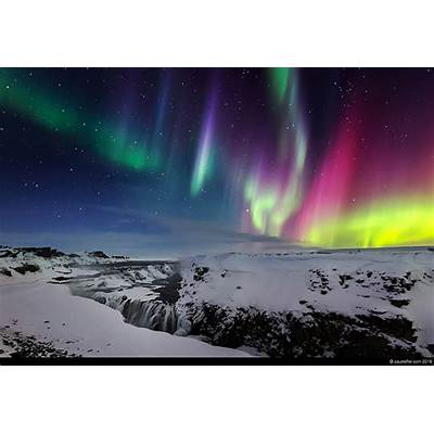 iceland aurora borealis northern lights gullfoss waterfall