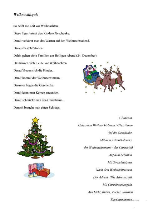 weihnachtsquiz arbeitsblatt kostenlose daf arbeitsblaetter