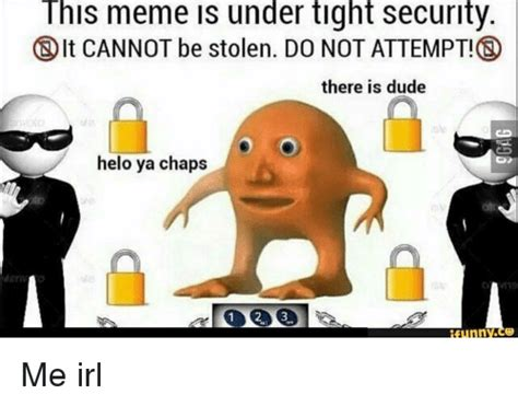 Meme This - this meme under tight security it cannot be stolen do not attempt there is dude helo ya chaps