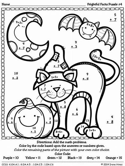 Worksheets Puzzles Halloween Math Number Addition Maths