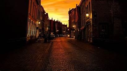 Street Buildings Calm Twilight 1080p Background Lanterns
