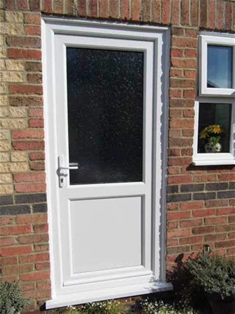 Back Doors by Flat Panel With Mid Rail Solid Upvc Back Door