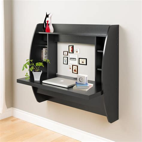 wall mount floating desk storage home office computer