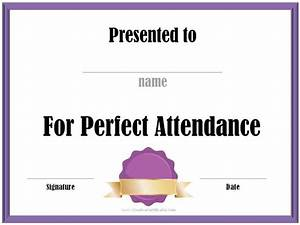 Perfect Attendance Certificate Template Perfect Attendance Award Certificates