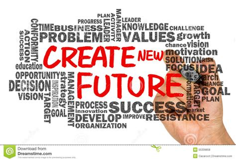 Create New Future With Related Word Cloud Hand Drawing On Whiteb Stock Photo  Image 55339858