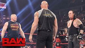 Brock Lesnar goes face-to-face with Goldberg and The ...